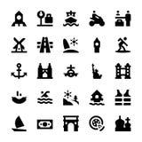 Tourismus-und Reise-Vektor-Ikonen 10 Stockbilder