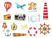 Tourismus und Seeikonen Stockfoto