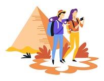 Tourismuspaare mit den reisenden und besichtigenden Rucksäcken und ägyptischen Pyramiden lizenzfreie abbildung