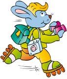 Tourist. Rabbit traveler with shoes and binoculars Stock Image