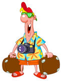 Tourist. Happy tourist carrying his suitcases vector illustration