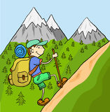 Tourist. With a large backpack up the mountain. Vector Graphics Stock Image