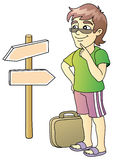 Tourist. Pointer, cross-roads, vector illustration Royalty Free Stock Photography