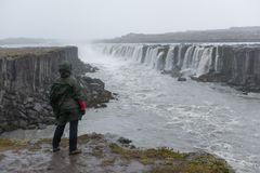 Woman standing on the cliff near the Selfoss cascade. A tourist above rapid flow of water powerful Selfoss cascade. Unusual and gorgeous scene. Popular tourist Royalty Free Stock Photo