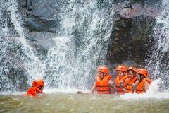 Tourist abseil in Datanla waterfall in Vietnam Stock Photo