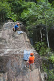 Tourist abseiling, Vietnam Royalty Free Stock Image