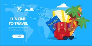 Tourist Accessories Backpack Passport Plane Ticket. Travel Time Concept. Tourist Accessories Backpack Passport Airplane Ticket Surfboard Palm vector Illustration stock illustration