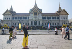 Tourist activity in Grand Palace. Grand palace is the Bangkok's most famous landmark which was built 1782. Within the palace complex are several impressive Stock Photos
