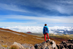 Tourist admiring breathtaking views from the Mauna Kea, a dormant volcano on the island of Hawaii Royalty Free Stock Photos