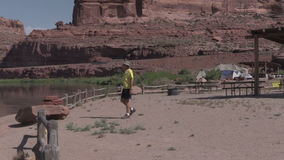Tourist Admiring Colorado River Landscape stock video footage