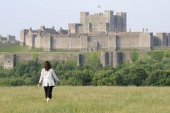 Tourist admiring dover castle Royalty Free Stock Photo