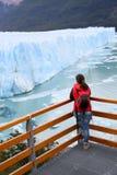 Tourist admiring icebergs of Perito Moreno Glacier Stock Photos