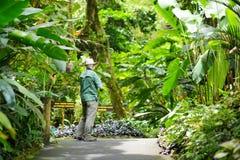 Tourist admiring lush tropical vegetation of the Hawaii Tropical Botanical Garden of Big Island of Hawaii. USA Stock Images