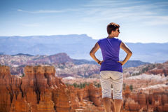 Tourist admiring nature in Bryce Canyon National P Stock Images