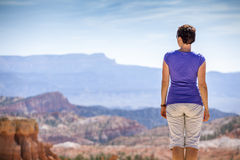 Tourist admiring nature in Bryce Canyon National Park Stock Photos