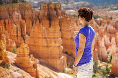 Tourist admiring nature in Bryce Canyon National Park Royalty Free Stock Photography