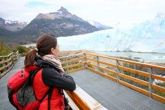 Tourist admiring Perito Moreno Glacier Stock Photo