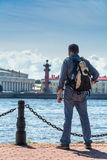 Tourist admiring views of the Neva River Royalty Free Stock Images
