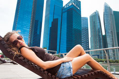 Tourist adventure. And relax in Singapore Royalty Free Stock Images