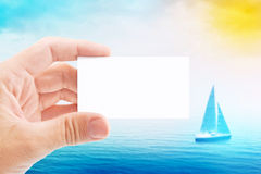 Tourist Agent With Blank Visiting Business Card Royalty Free Stock Image