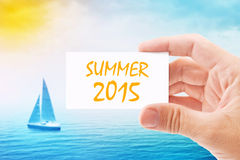 Tourist Agent With Summer 2015 Visiting Card Stock Photography