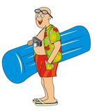 Tourist and air lounger. Tourist with an inflatable lounger and camera goes to the beach Stock Image
