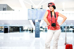 Tourist at the airport Stock Photography