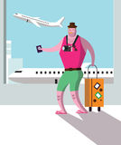 Tourist at airport terminal, travel and vacation concept. Royalty Free Stock Photo