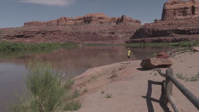 Tourist Along the  Colorado River Moab Utah stock video footage