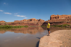 Tourist Along Colorado River Moab Utah Stock Images