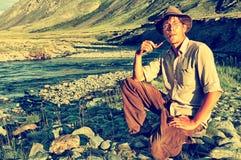 Tourist in Altai camp Stock Photo