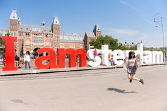 Tourist in Amsterdam Royalty Free Stock Photos