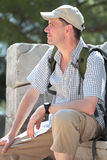 Tourist on the ancient ruins Royalty Free Stock Photography