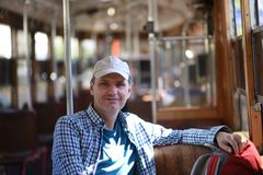 Tourist in Antalya retro tram Stock Photos