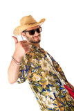 Tourist approved. A young, attractive male in a colorful outfit ready to travel as a stereotype tourist stock images