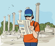 Tourist at Archaeological Site Illustration Royalty Free Stock Photo