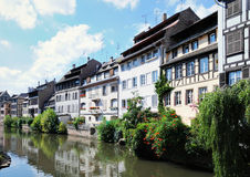 Tourist area Petit France in Strasbourg. Panorama of tourist area Petit France in Strasbourg, France in sunny day Stock Image