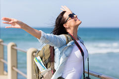 Tourist arms outstretched Stock Image