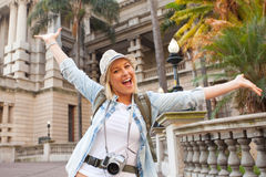 Tourist arms up Royalty Free Stock Photos