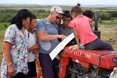 Tourist asks for directions in Mongolia Stock Images