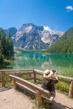Tourist At Lake Braies Royalty Free Stock Photos