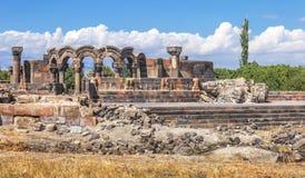 Tourist Attraction of Armenia - the ruins of Zvartnots Royalty Free Stock Photo