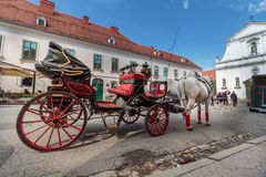 Tourist attraction dual horse carriage Stock Images