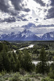 Tourist attraction of Grand Tetons with snake river Royalty Free Stock Photos