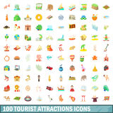 100 tourist attraction icons set, cartoon style. 100 tourist attraction icons set in cartoon style for any design vector illustration Stock Images