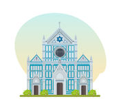 Tourist attraction, large Franciscan church of Basilica of Santa Croce. World landmarks. Architectural building, popular large Franciscan church of the Basilica Royalty Free Stock Image
