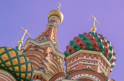 Tourist attraction St. Basil`s Cathedral on red square near the Kremlin in Moscow. Cathedral of the Basil of the Blessed near the Kremlin on the Red Square as Royalty Free Stock Photo