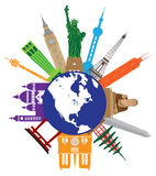 Tourist Attractions Around The World Globe vector illustration Stock Photo