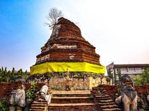 Tourist attractions, beautiful architecture of Thailand, Ayutthaya. Period For hundreds of years stock photos