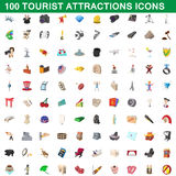 100 tourist attractions icons set, cartoon style Royalty Free Stock Photos